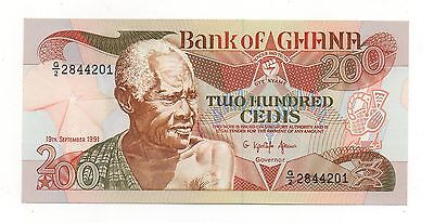Ghana 200 Cedis 19 September 1991 Pick 27 B Unc