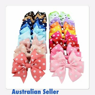 Polka Dot Grosgrain Ribbon Girls Hair Bow With Clip Australian Seller