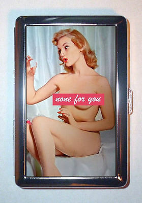 None for you! 1950s Nude Pin Up Redhead Tease Cigarette Case, ID Wallet USA Made