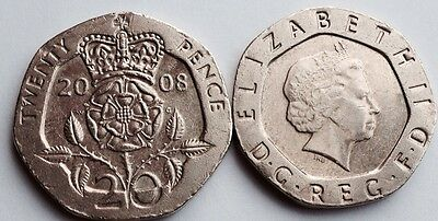 2008 British 20p Coin Circulated Crowned Tudor Rose Last Old of Design