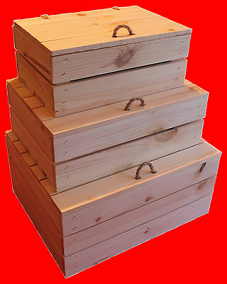 Handmade Wooden Box With Lid Plain Solid Pine Wood Decoupage Storage Gift Crate