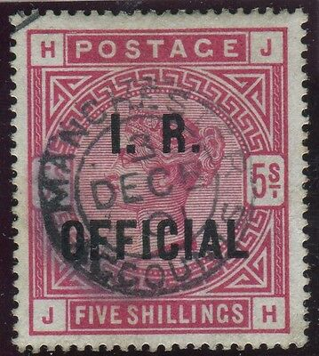 Sg O9 5/- Rose OVPT I.R. OFFICIAL.  A fine used example with Manchester Accounts