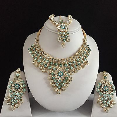 Blue Gold Indian Costume Jewellery Necklace Earrings Matha Patti Set Bridal New