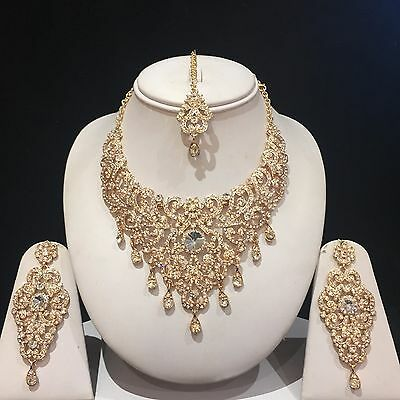 Clear Gold Indian Costume Jewellery Necklace Earrings Crystal Diamond Set New