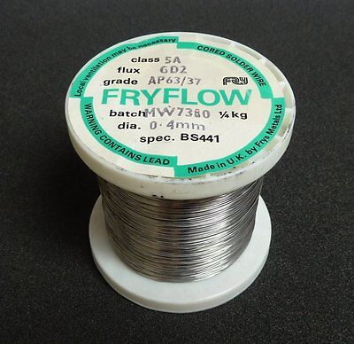 FRYS CORED ELECTRONIC SOLDER 60/40 TIN LEAD .4mm  250 grams