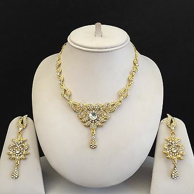 Gold Clear Indian Costume Jewellery Necklace Earrings Crystal Bridal Set New