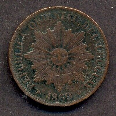 URUGUAY 4 CENTESIMOS, BRONZE COIN, 1869 year