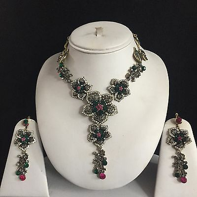 Multi Gold Indian Fashion Costume Jewellery Necklace Earrings Crystal Set New