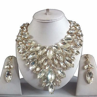 Gold Clear Costume Jewellery Necklace Earrings Diamond Crystal Set Bridal New