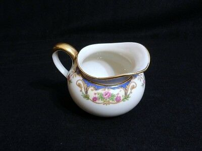 HAVILAND Limoges CREAMER CHF110 Pink Roses BLUE INSETS Tan Scroll - BEAUTIFUL!