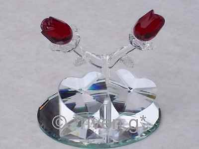 2x Red Roses & 2 x HEARTS@AUSTRIAN CRYSTAL~Glass~Unique VALENTINE@Crystal Gifts