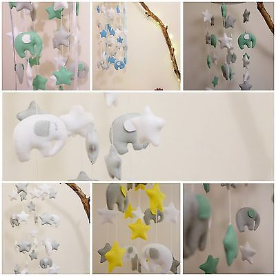 Elephants and stars baby mobile