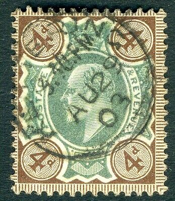 1902-10 4d Green & Grey Brown cds Sg 235 VERY FINE USED  V73411