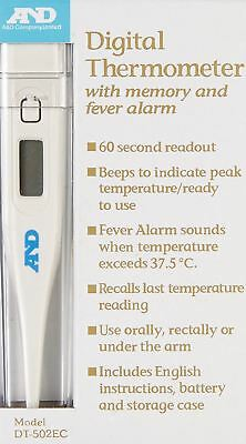 AND A&D Oral/Rectal/Under Arm Medical Digital Thermometer - Memory & Fever Alarm