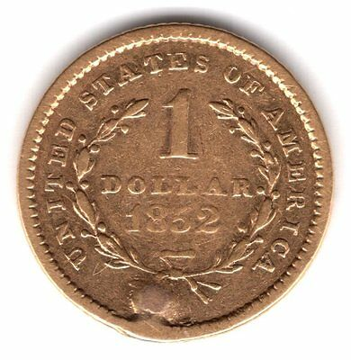 1852 United States of America One 1 Dollar .900 Gold Hole Plugged Coin A187