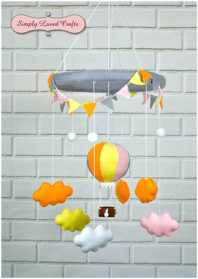 Handmade Felt Baby Nursery Mobile with Baloon and Clouds.