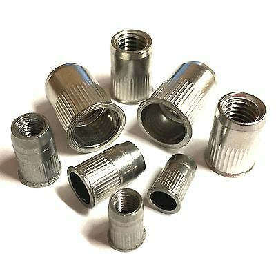 M3 M4 M5 M6 M8 M10 Threaded Rivet Insert Riv Nuts - Stainless - Open End Knurled