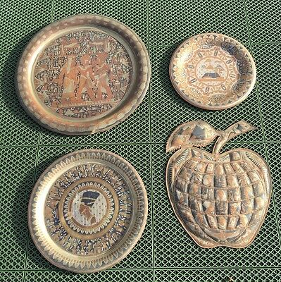 Set Of 4 Egyptian Brass And Copper Wall Plates