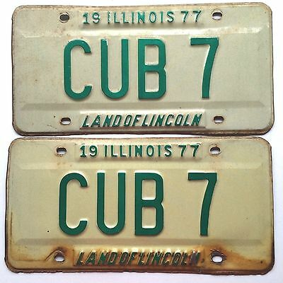Illinois Chicago Cubs Pair Vintage License Plate Garage 1977 Vanity Tag Old Car