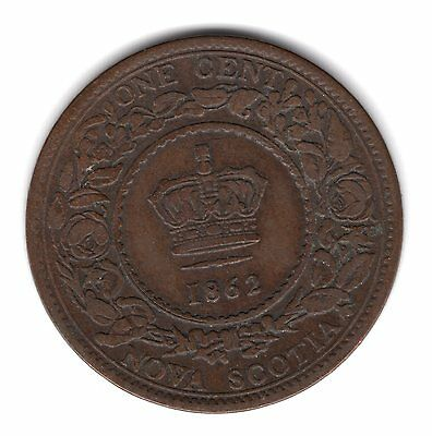 1862 Province Of Nova Scotia Canada Copper One Large Penny Cent Coin A190