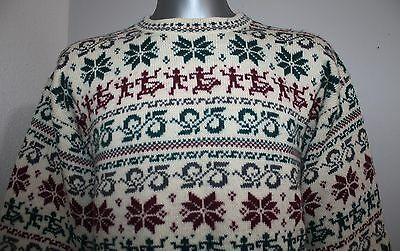 VTG Mens MOUNTAIN Sweater 100% Wool Nordic Fairisle Cardigan Jumper CHUNKY S