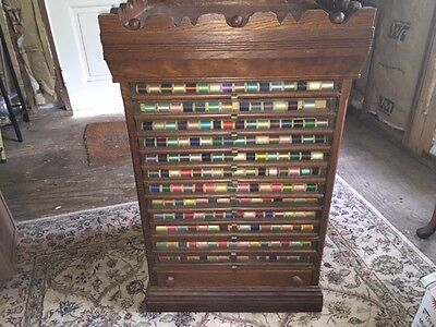 Antique 13 Drawer Belding Paul & Co Spool Cabinet Country Store Display w/Thread