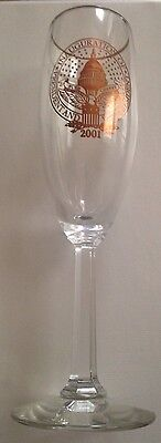2001 President Bush Vice President Chaney Inaugural Gold Trim Champagne Glass