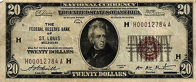 1929 $20.00 Federal Reserve Bank Note - St. Louis - FR# 1870-H - H00012784A - VF