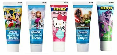 Oral B Stages Mickey Elsa Sar Wars Fire Fly Hello Kitty Litlle Pony Toothpaste