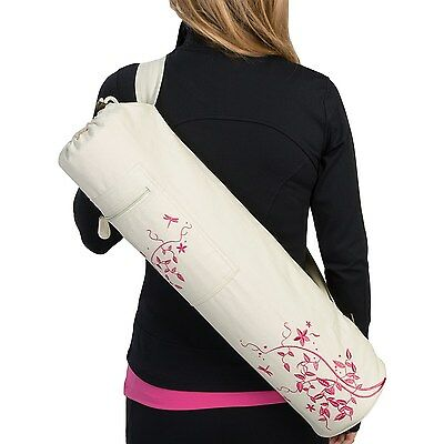 Gaiam Pink Embroidered Dragonfly Yoga Tote Mat Bag New