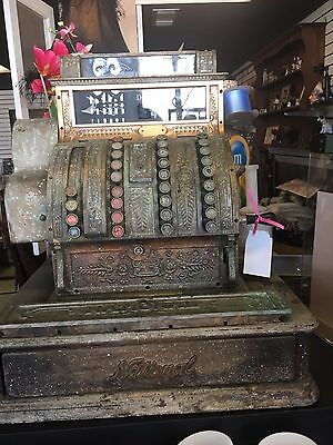 Antique Brass National Cash Register  Model 442 Circa 1913