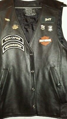 Harley Davidson Authentic Black Leather XL Vest with patches and pins