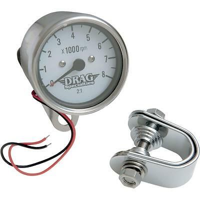 Drag Specialties Mechanical 8000 RPM Tachometer 2.4in. White Face