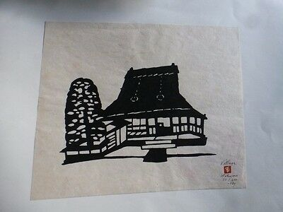 "1967 SIGNED & NUMBERED PRINT BY Inagaki Nenjiro MIKUMO WOODCUT ""VILLAGE"""