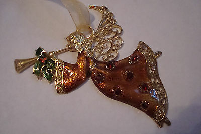 Christmas Angel ornament metal with red rhine