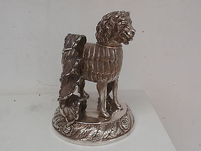 c1860 GERMAN SOLID SILVER NOVELTY DESK STATUE INKSTAND INKWELL SNUFF BOX