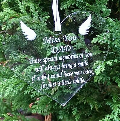 Miss You Dad Laser Engraved Heart Memorial Plaque Sign Remembrance Memory Marker