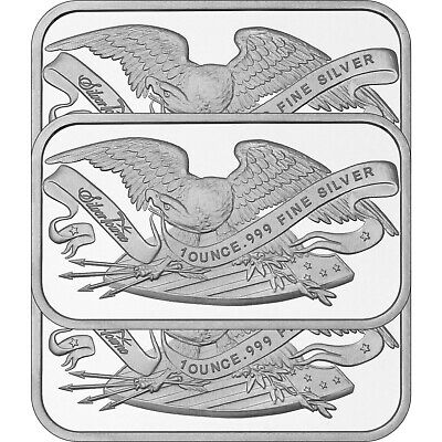 Retro SilverTowne Eagle and Shield 1oz .999 Silver Bar (3pc)