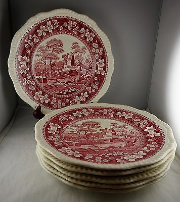 6 Spode China Pink Tower Dinner Plates Contemporary Non-Globe Backstamp
