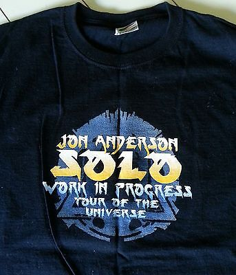JON ANDERSON SOLO Black T-SHIRT ~ Work in Progress ~ Tour of the Universe ~ Sz M
