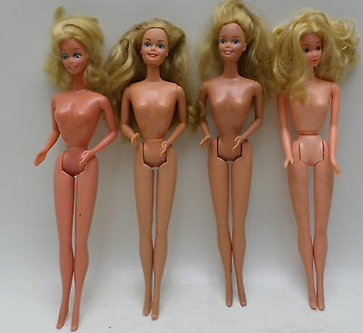 Vintage 1966 1967 Mattel Barbie Fashion Doll Lot Of 4 Blonde- Key And Button