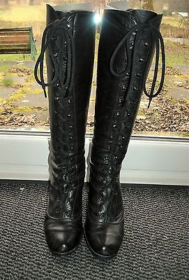 Vintage 60s-70s Black Leather Victorian Style Lace-up Knee Length Boots - 3