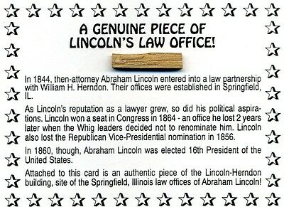 Authentic Piece of Abraham Lincoln's Law Office Site Attached to Documentation