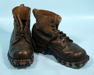 Antique Swiss Leather & Hobnail Sole Mountain Climbing Boots Tricouni 6M c1910