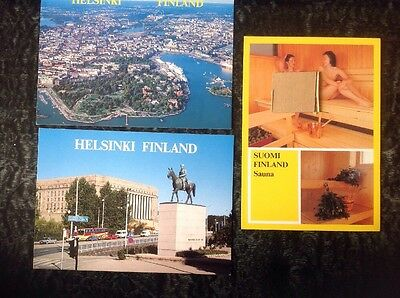 3 colour postcards of HELSINKI, FINLAND