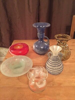 Small collection 6 vintage art glass vases inc. cloud glass