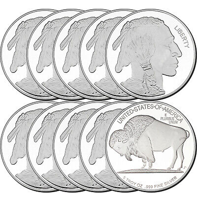 Buffalo 5oz .999 Silver Medallion by Silvertowne (10pc)