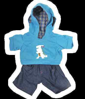 """Teddy Bear Clothes Dinosaur Dino outfit hoodie and jeans fit 8""""  build a bear"""