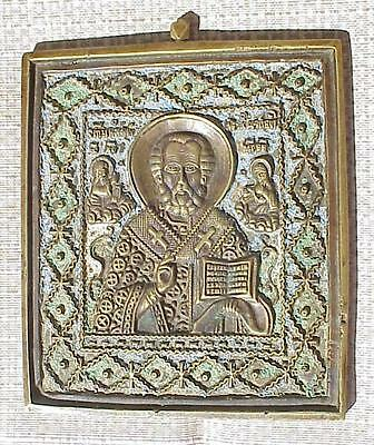 18c.RUSSIAN CHRISTIAN IMPERIAL GOLD BRONZE ENAMEL ORTHODOX ICON St. NICOLAS CROS