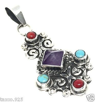 Vintage Style Taxco Mexican Sterling Silver Amethyst Turquoise Pendant Mexico